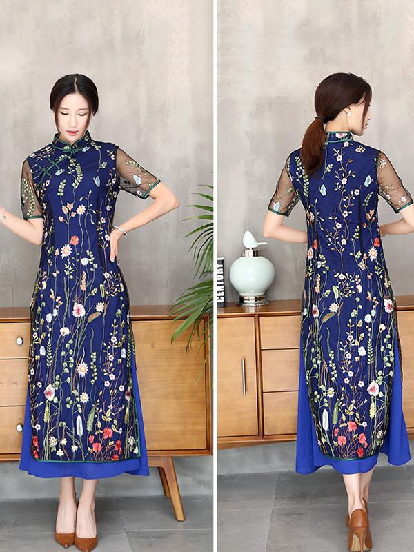 Navy-blue Lace Embroidered Long Cheongsam - Zebrant