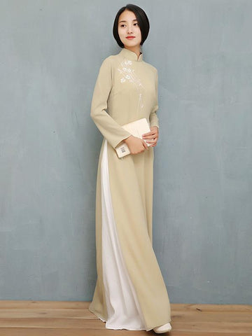 Light Green Tea Split-side Long Ao Dai Cheongsam Dress - Zebrant