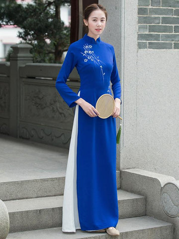 Tradition Blue Long Cheongsam Ao Dai - Zebrant