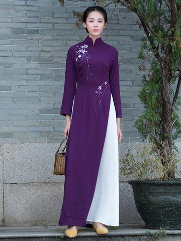 Purple Split-side Long Cheongsam