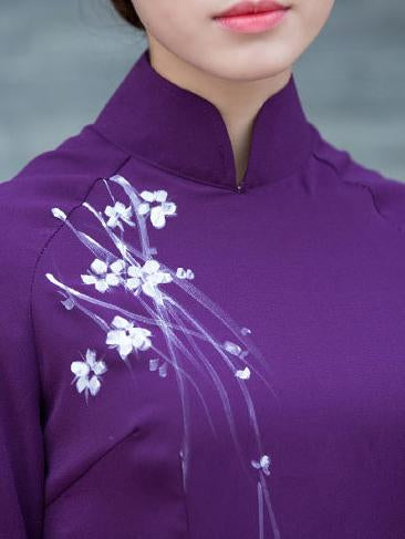 Traditional Chinese Split-side Long Dress in Purple Color