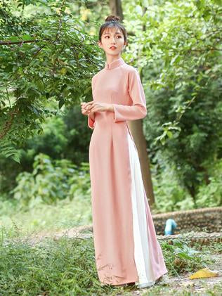 Pink Zipped Split-side Long Ao Dai Cheongsam Dress - Zebrant