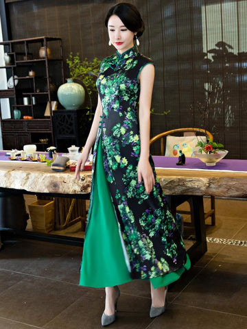 Green Stand Collar Split-side Ao Dai Cheongsam - Zebrant