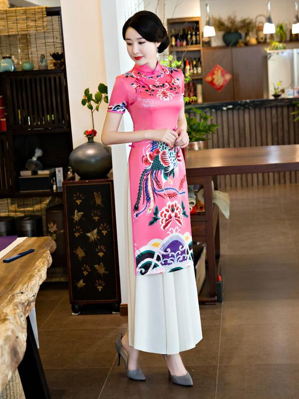 Traditional Pink Dress with Phoenix Print