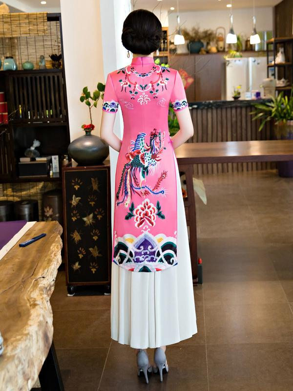 Traditional Pink Dress with Phoenix Print - Zebrant
