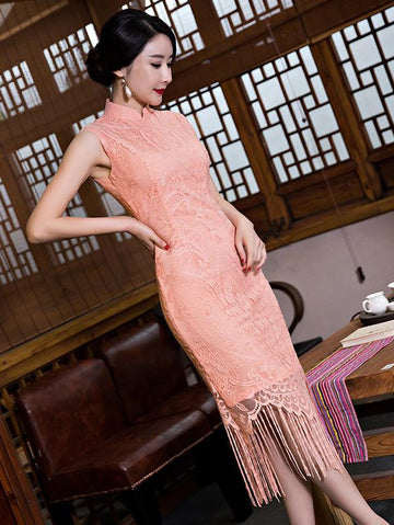 Lace Tasseled Short Cheongsam Dress - Zebrant