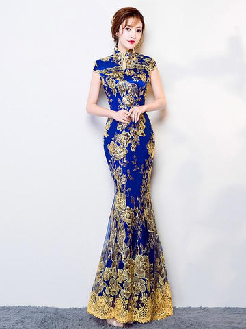 Traditional Mermaid Evening Dress in Blue Color with Floral Print
