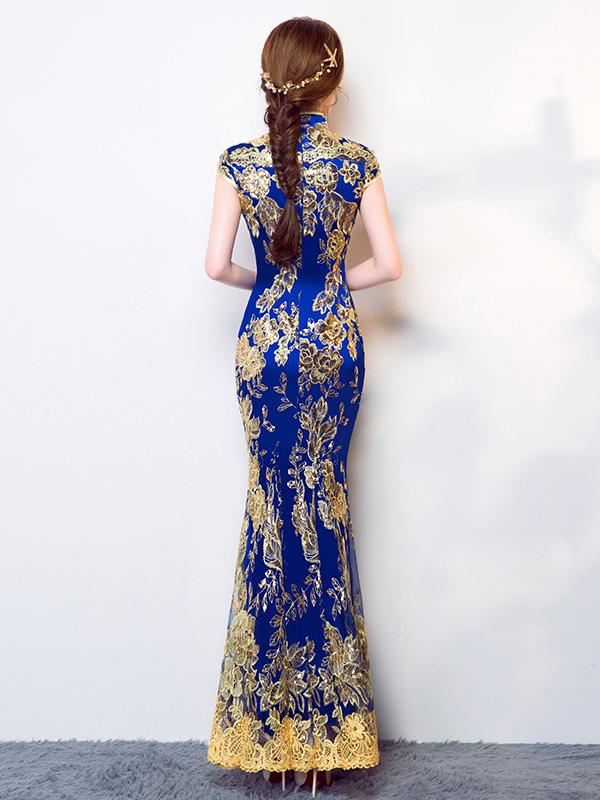 Traditional Mermaid Evening Dress in Blue Color with Floral Print - Zebrant