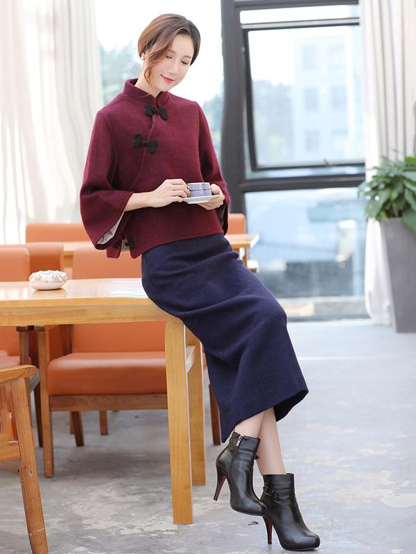 Gray&Burgundy Tradition Cheongsam Tops - Zebrant