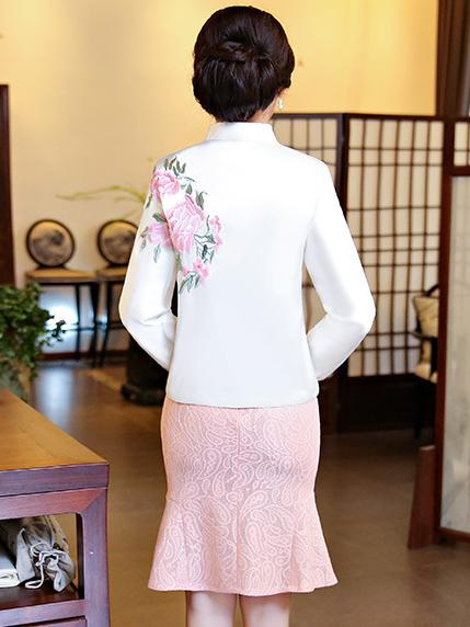 Pink&White Embroidered Cheongsam Tops - Zebrant