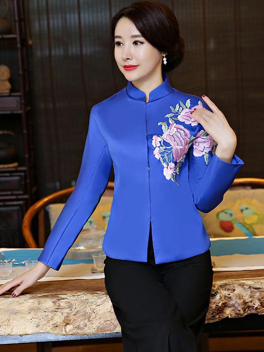 Black&Blue Embroidered Cheongsam Tops - Zebrant