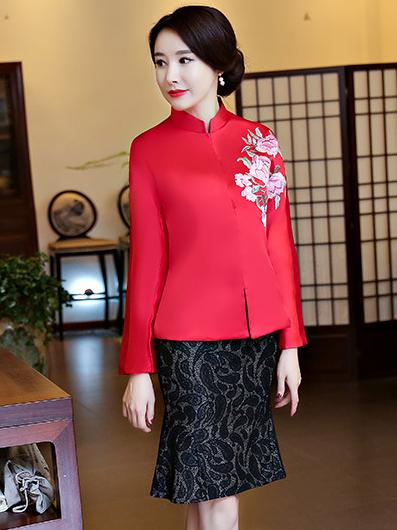 Chinese Traditional Top in Red and Green Color - Zebrant