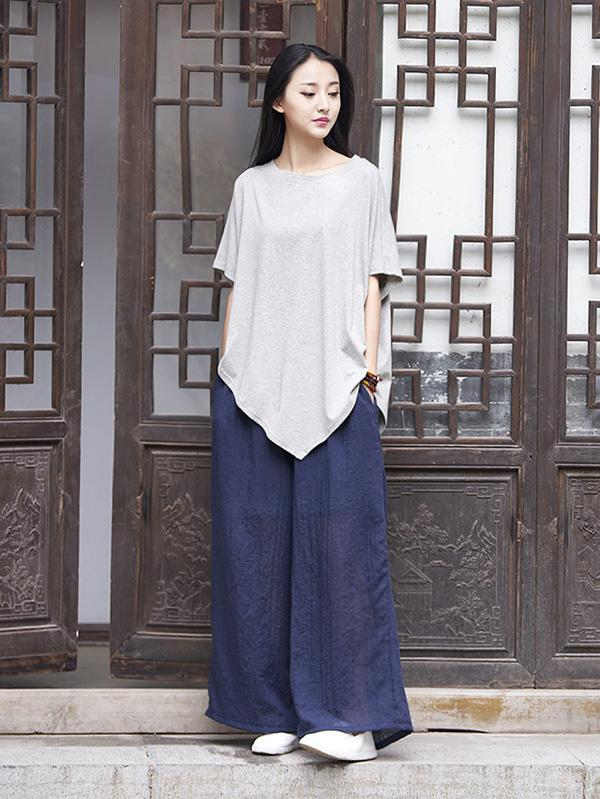 Triangle Bottom Asymmetrical Cotton Top in Gray or Black Color