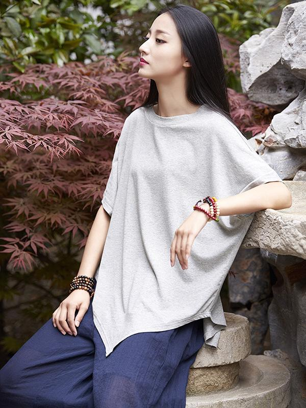 Triangle Bottom Asymmetrical Cotton Top in Gray or Black Color - Zebrant