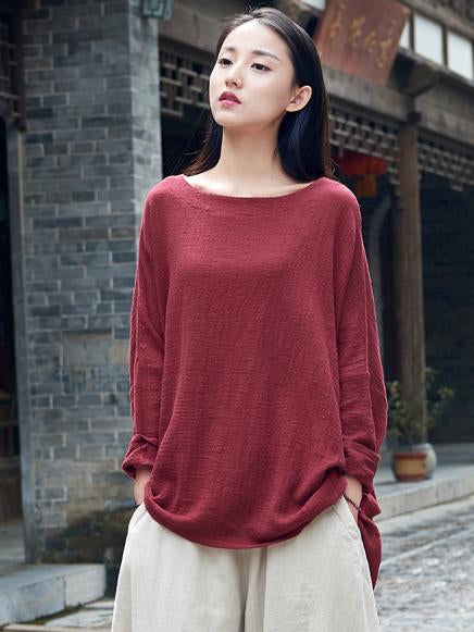 Original Long Loosen Cotton Tops