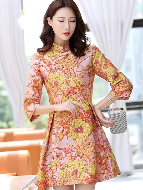 Casual Short Chinese Traditional Mini Dress in Orange Color - Zebrant