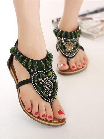 Bohemia Beads Decorated Flat Sandals - Zebrant