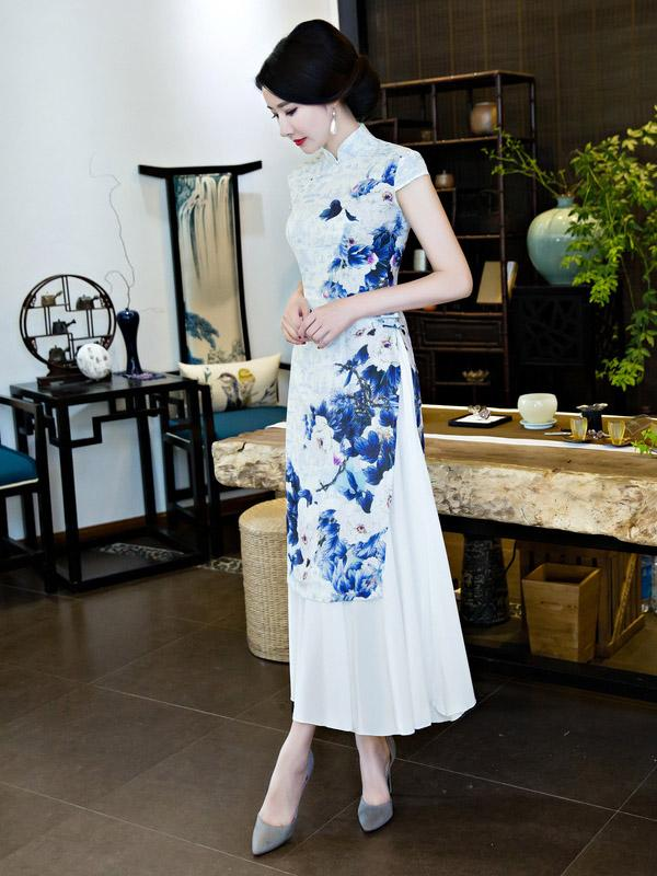 Chinese Traditional Silk Cheongsam Dress with Flower Print - Zebrant