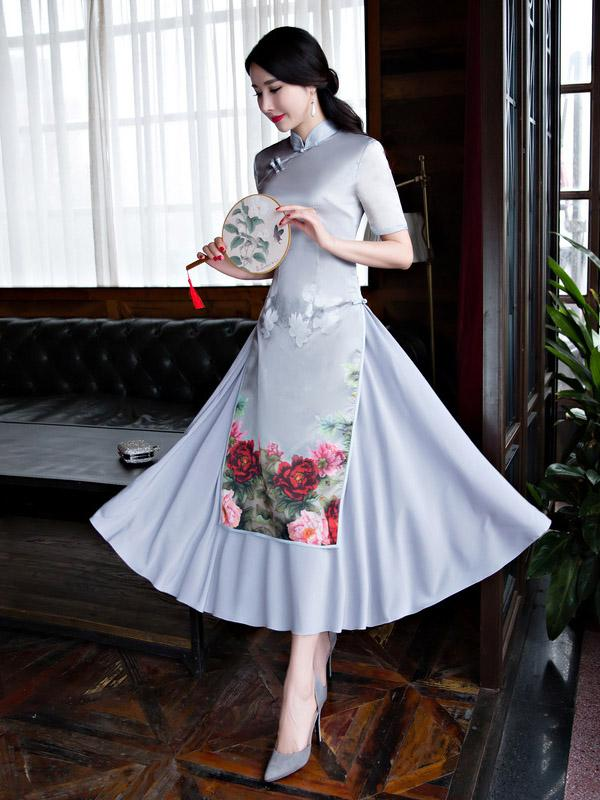 Beautiful Chinese Cheongsam Dress with Floral Print - Zebrant