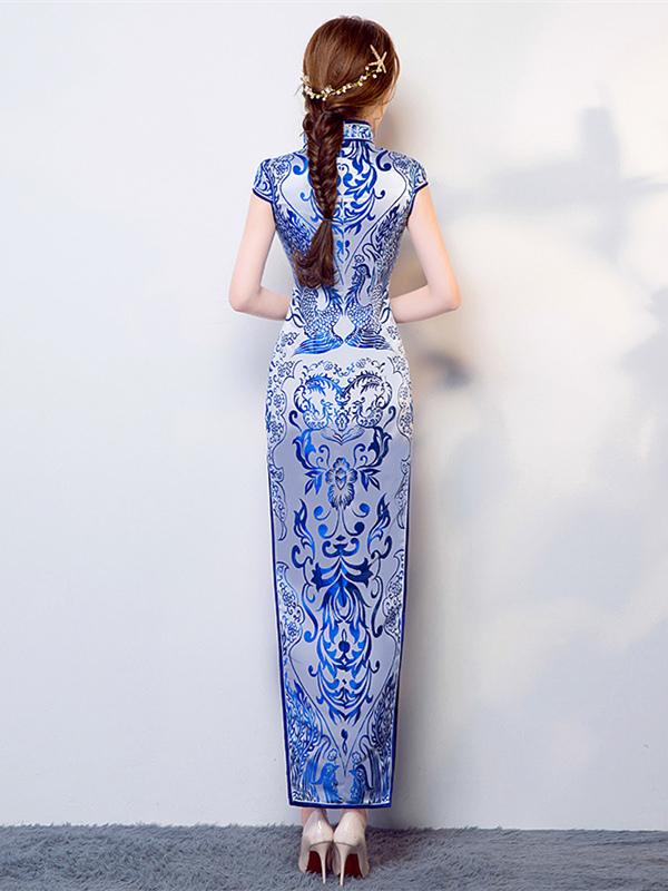 Tradition Blue Long Cheongsam Evening Dress - Zebrant