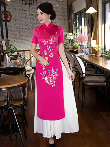 Fuschia Flower&Birds Print Split-side Ao Dai Long Cheongsam - Zebrant