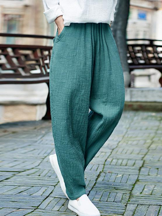 Comfortable Green Ramie Cotton Casual Pants - Zebrant