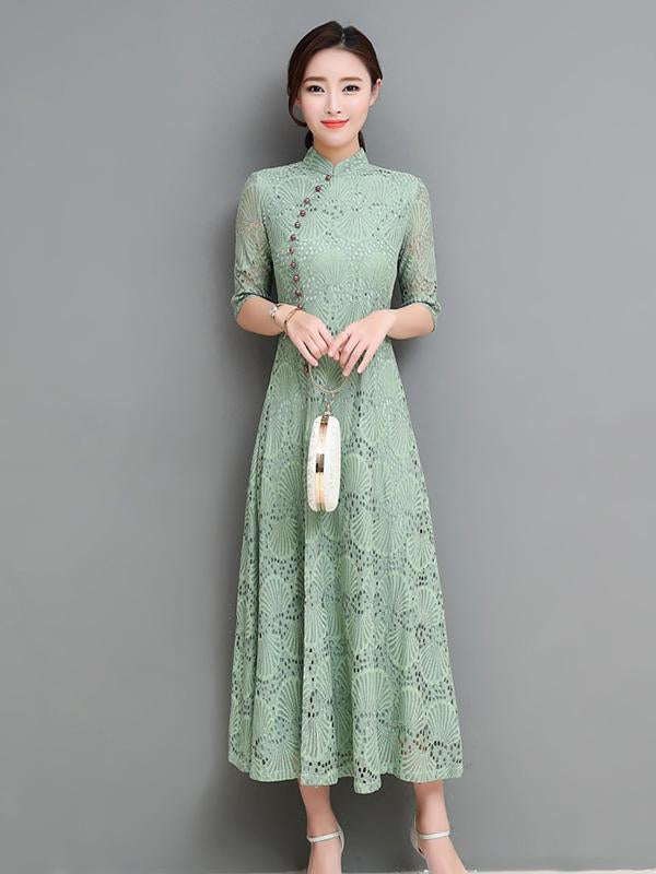 Red&Green Lace A-line Long Cheongsam Ao Dai - Zebrant