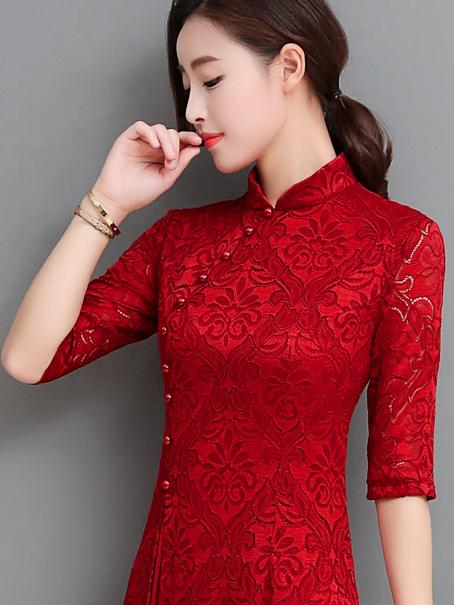Red&Green Lace A-line Long Cheongsam Ao Dai