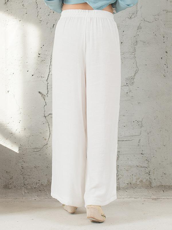 National Linen Wide Leg White Loose Casual Pant - Zebrant