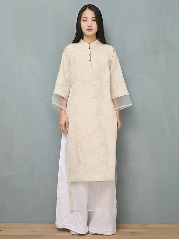 Jacquard Split-joint Ramie Cotton Ao Dai