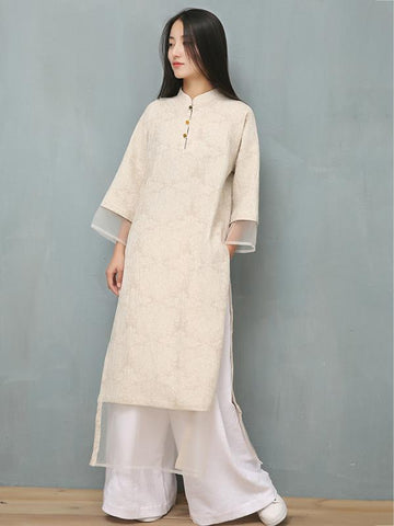 Jacquard Split-joint Ramie Cotton Ao Dai - Zebrant