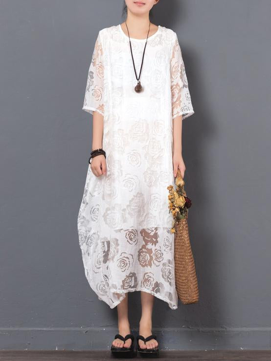 Original Laced Long Dress in White Color