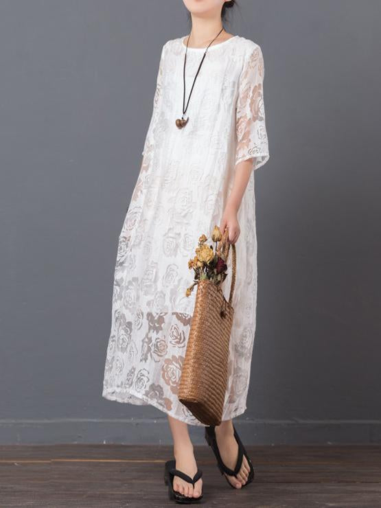 Original Laced Long Dress in White Color - Zebrant