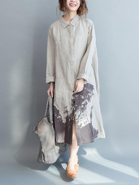Cotton Long Loose Dress with Natural Sketch Print - Zebrant