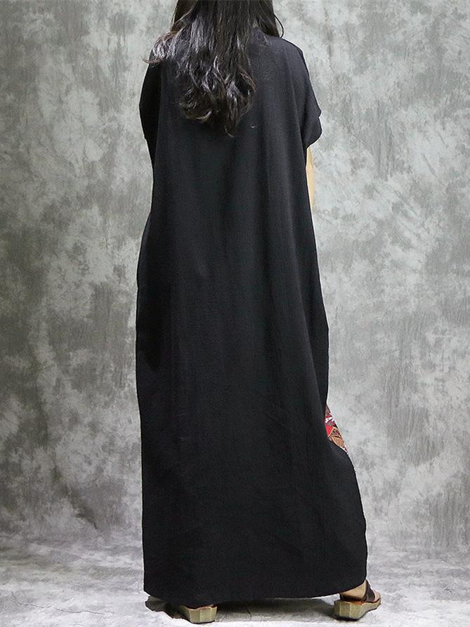 Oriental Style Vocational Linen Long Dress with Chinese Print - Zebrant
