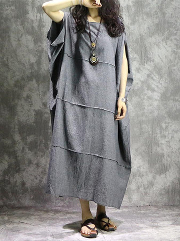 Gray Batwing Sleeves Ramie Cotton Long Dress - Zebrant