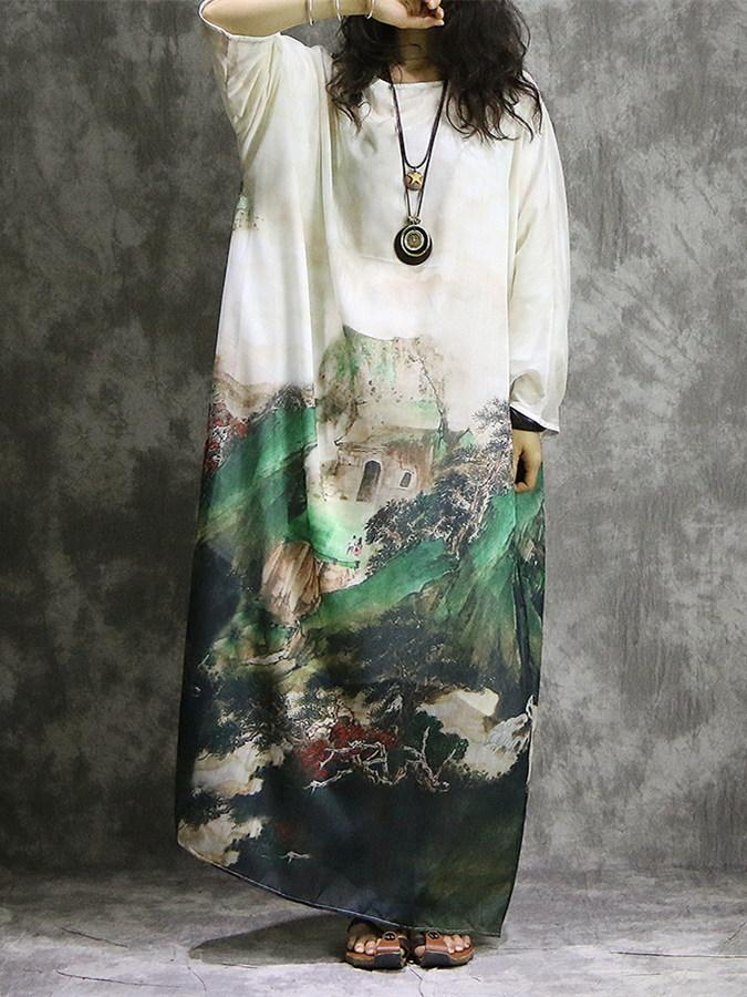 Chinese National Style Long Sleeves Silk Long Dress with Natural Print