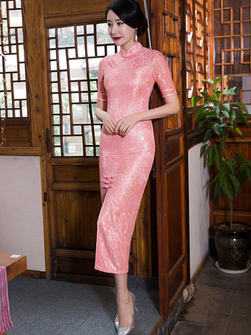 Pink&Gray Vintage Long  Cheongsam  Lace  Dress - Zebrant