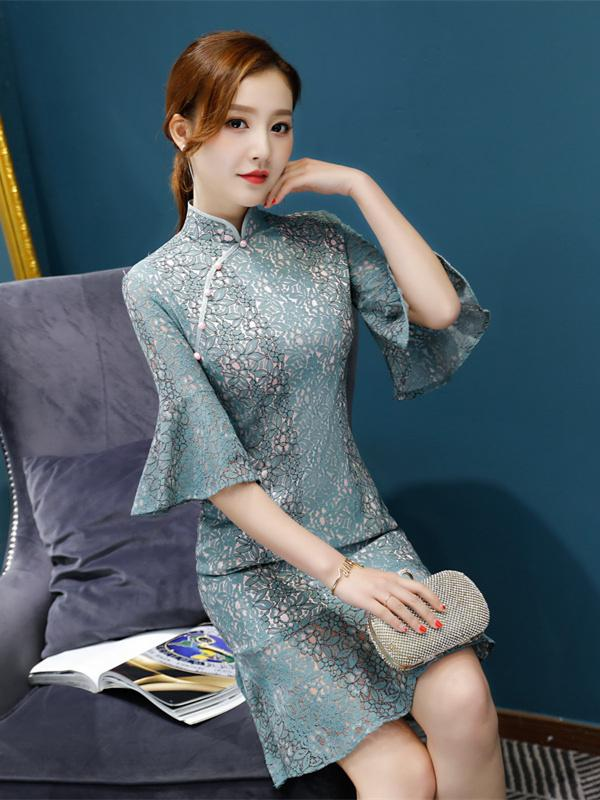 Lace Flared Sleeves Falbala Mermaid Short Cheongsam - Zebrant