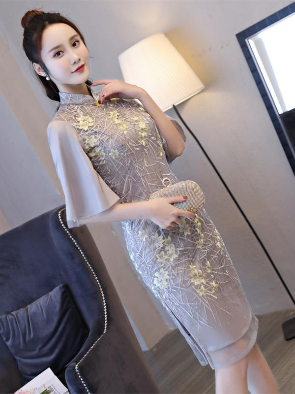 Lace Embroidered Flared Sleeves Short Cheongsam - Zebrant