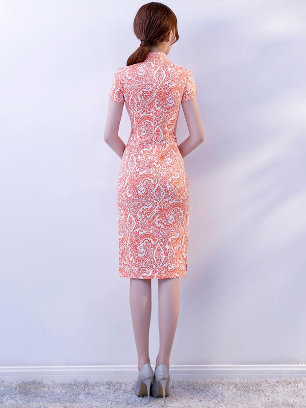 Pink Stretch Cotton Cheongsam Mini Dress - Zebrant