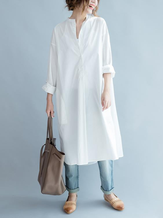 Original Creative Long Blouse Dress in White Color - Zebrant