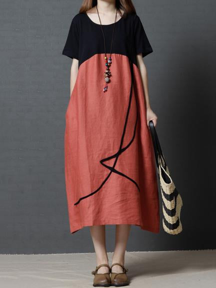 Original Vacation Long Dress in Orange or Coffee Color