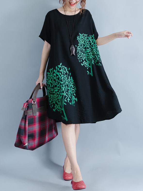 Black Medium Cotton Dress with Floral Print and Round Collar - Zebrant
