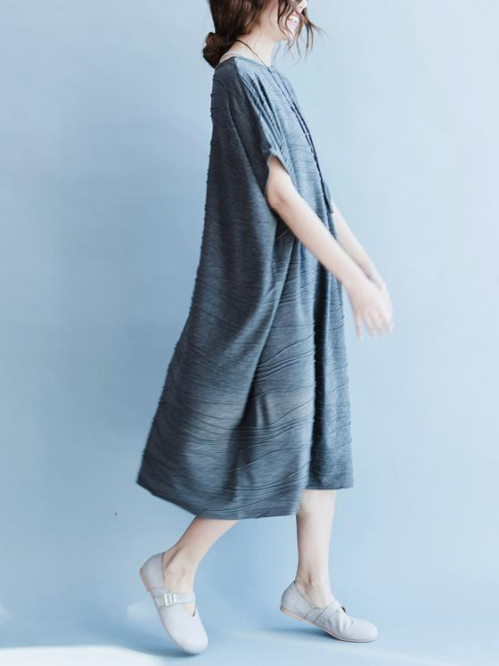 Gray Round-neck Cotton Blend Free Size Long Dress - Zebrant