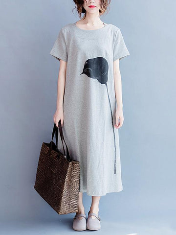 Gray Casual Cotton blend T-shirt Dress - Zebrant
