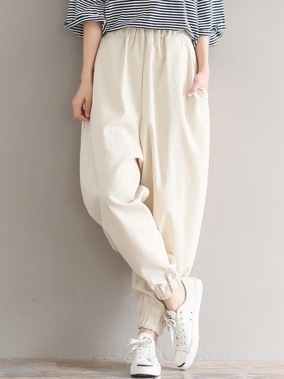 Loose Empire Ramie Cotton Harem Pants