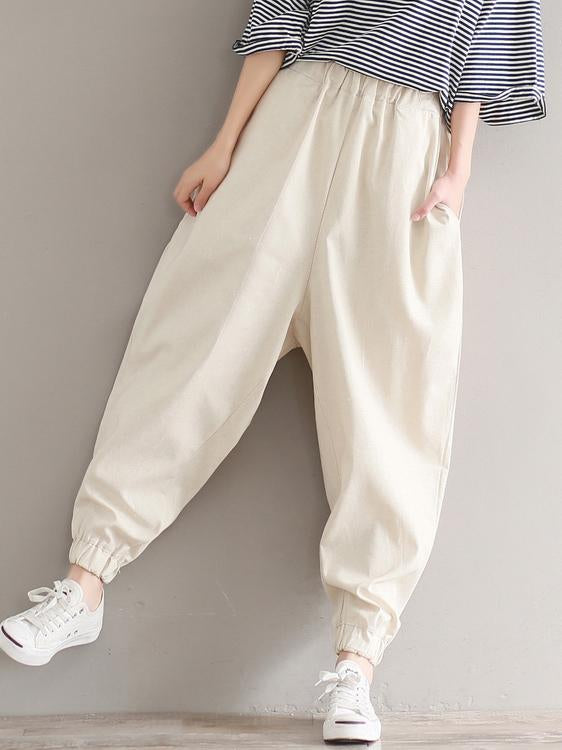 Loose Empire Ramie Cotton Harem Pants - Zebrant
