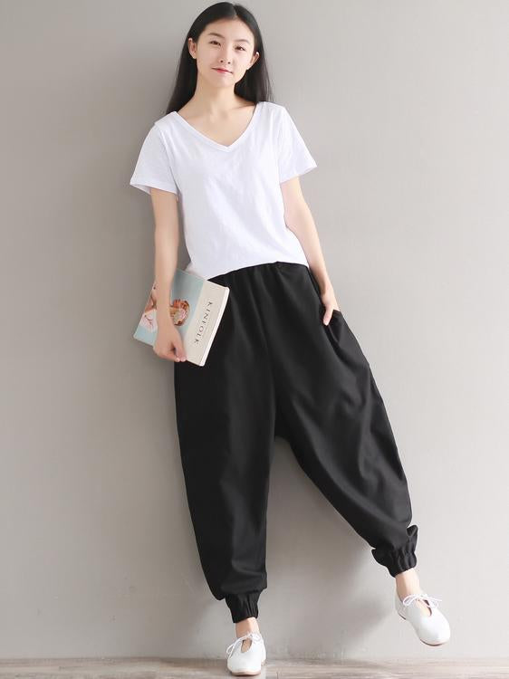 Casual Loosen Broaden Cotton Pants in Blue or Black Color - Zebrant