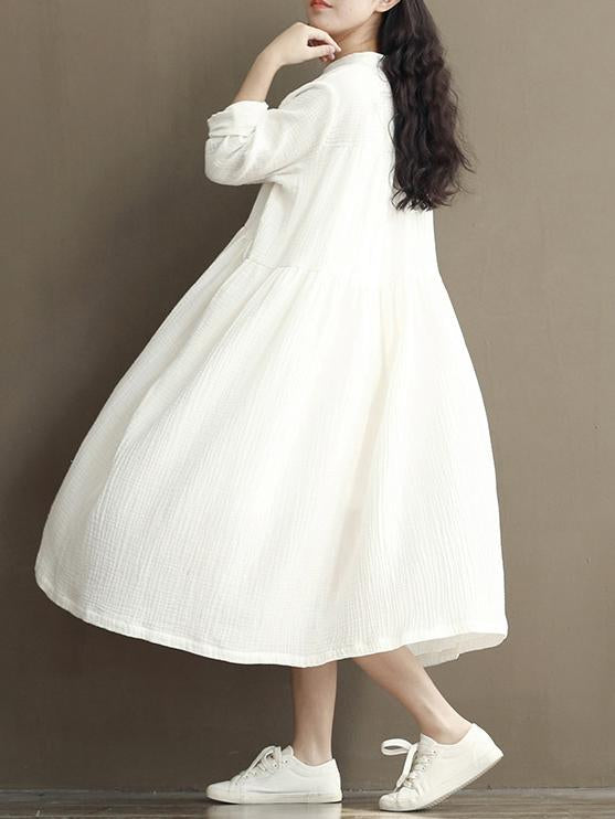 Casual White Loosen Dress with Buttons and Long Sleeves - Zebrant